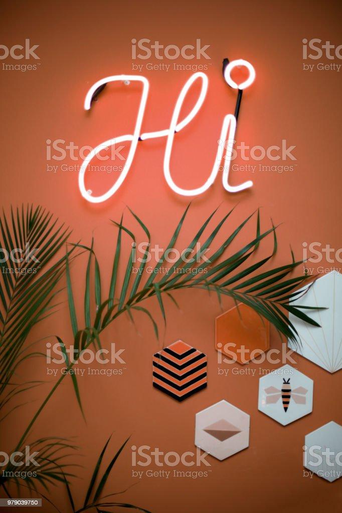 neon light sign - hi stock photo