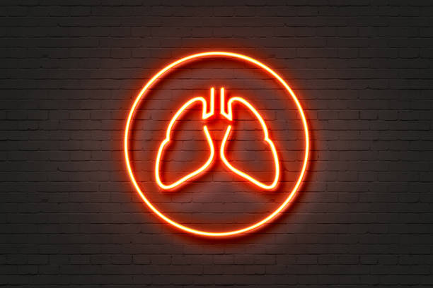 Neon Light Sign Lungs Icon stock photo