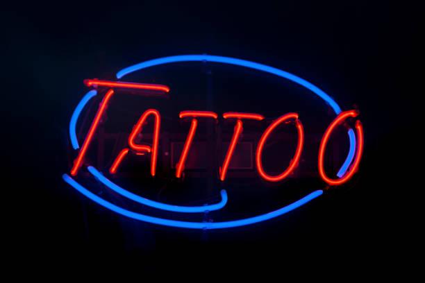 Neon light - Tattoo stock photo