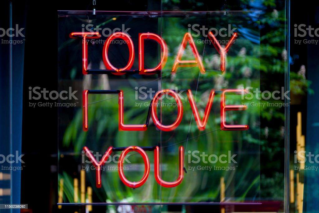 Neon light - Today I love you stock photo