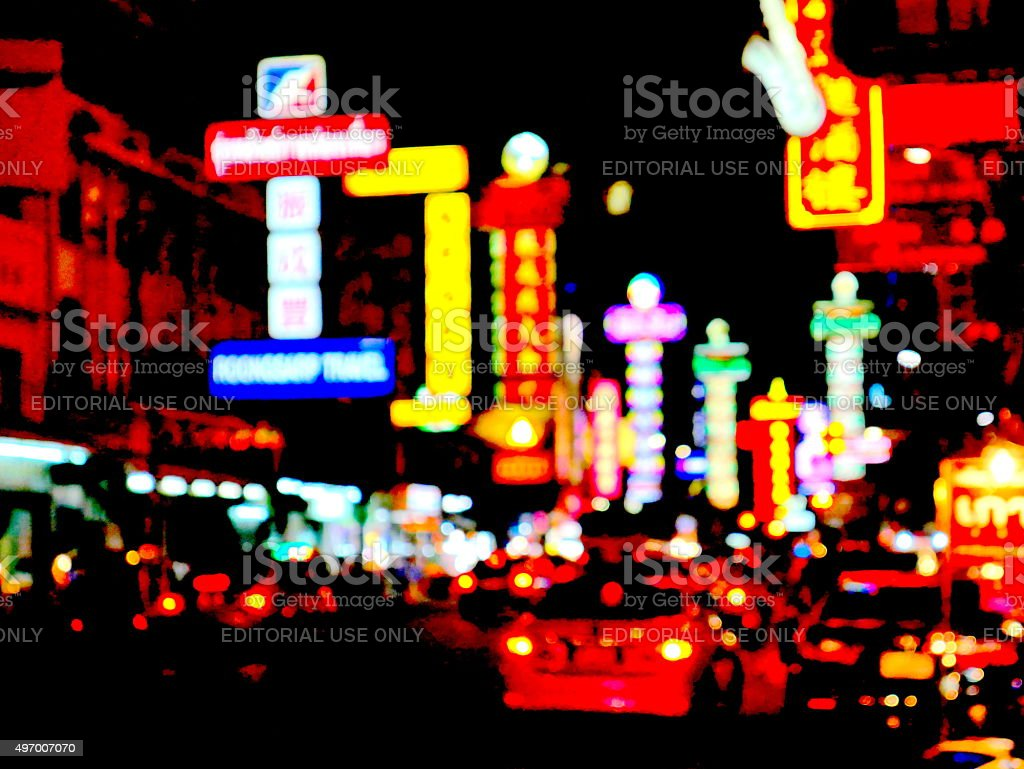 Neon lighted of China Town, Bangkok stock photo