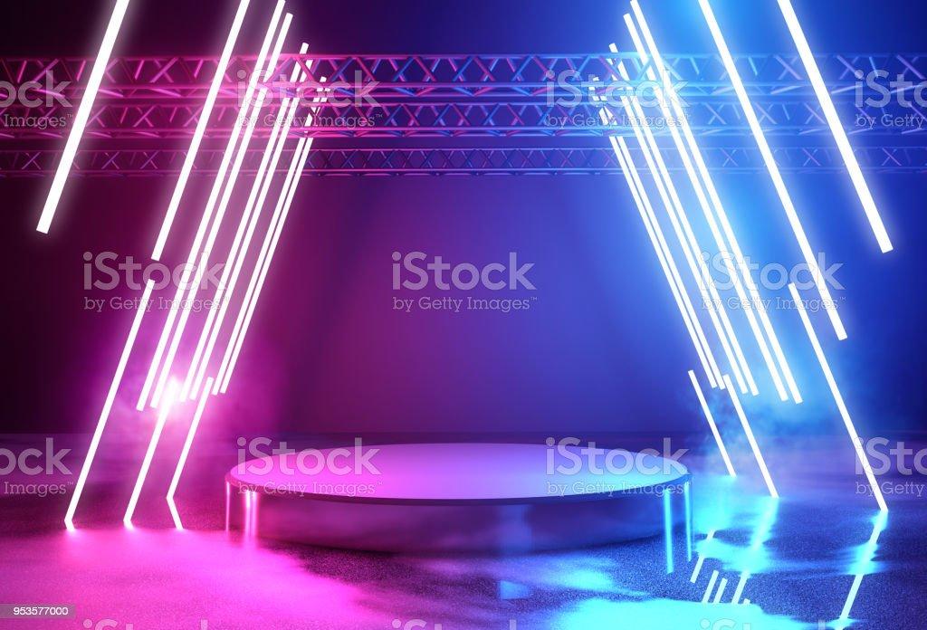 Neon Lighting And Platform Stage stock photo