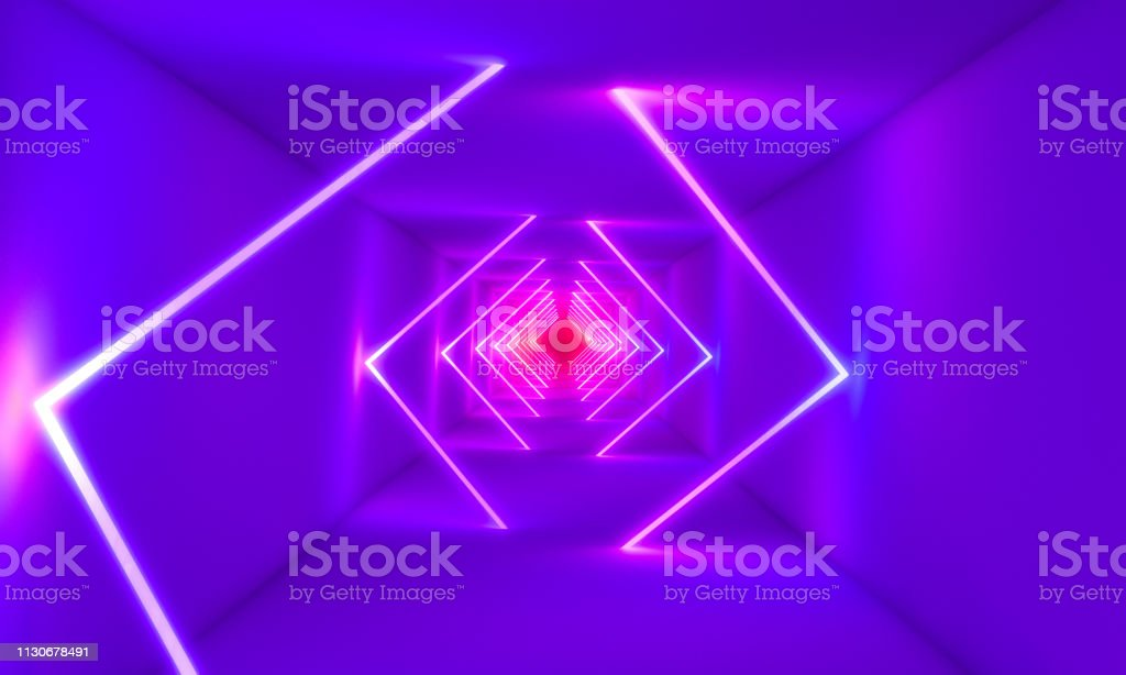 neon lights in abstract tunnel 3d rendering image
