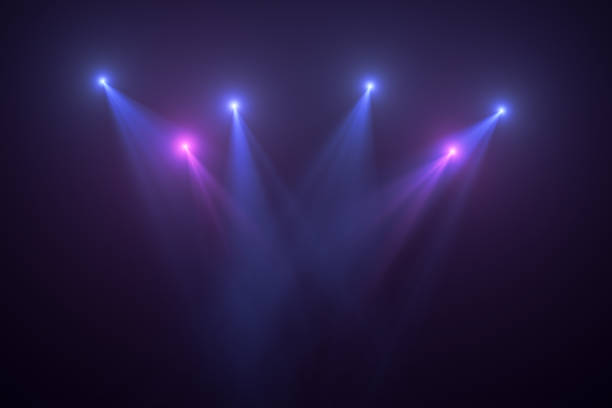 Neon Lights, Lens Flare, Space Light, Black Background Neon Lights on Black Background, Abstract, Futuristic Space Lights. spot lit stock pictures, royalty-free photos & images