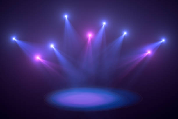 neon lights, lens flare, space light, black background - disco lights stock pictures, royalty-free photos & images
