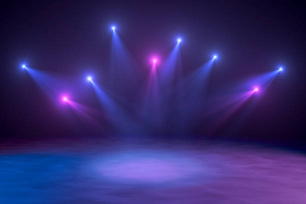 Neon Lights, Lens Flare, Space Light, Black Background stock photo