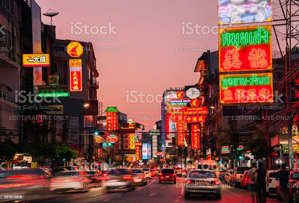 Neon lights of Chinatown, Bangkok, Thailand stock photo