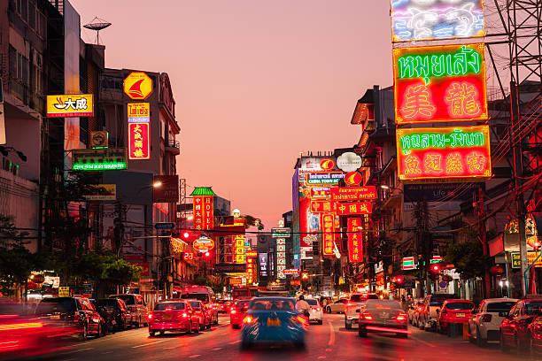 Neon lights of Chinatown, Bangkok, Thailand stock photo