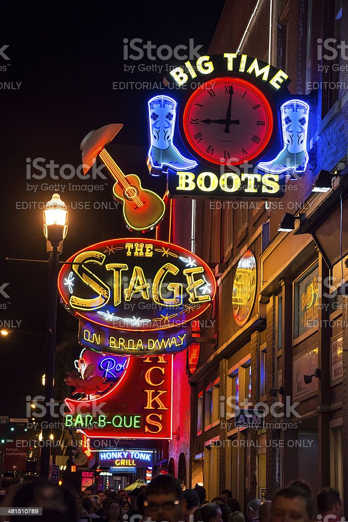 Neon lights on Broadway at night in Nashville, Tennessee stock photo