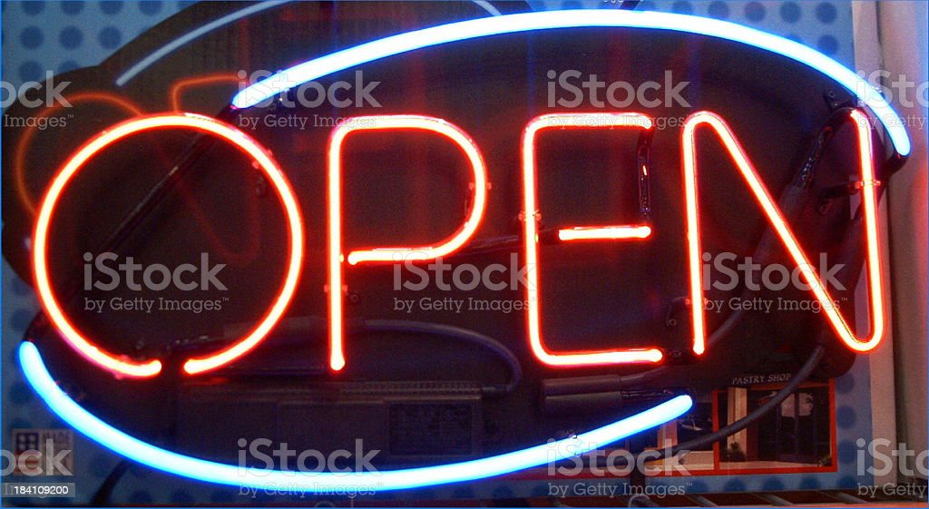 Neon lights - Open Sign royalty-free stock photo