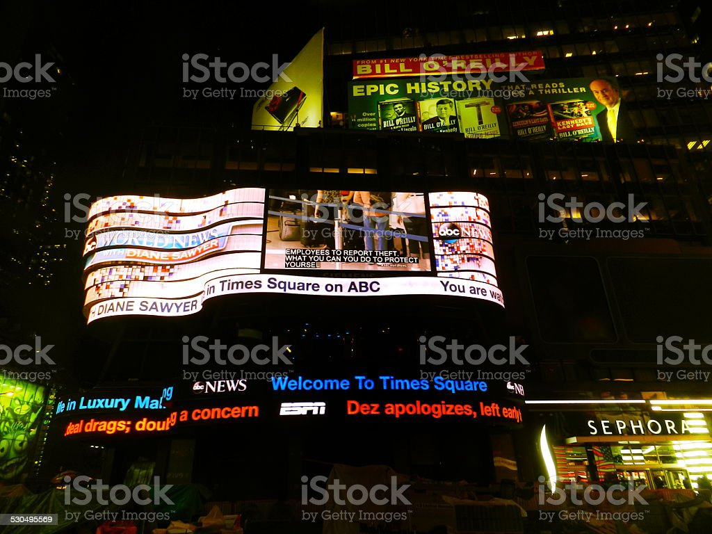Neon Lights Times Square Night Manhattan New York Usa Stock Photo