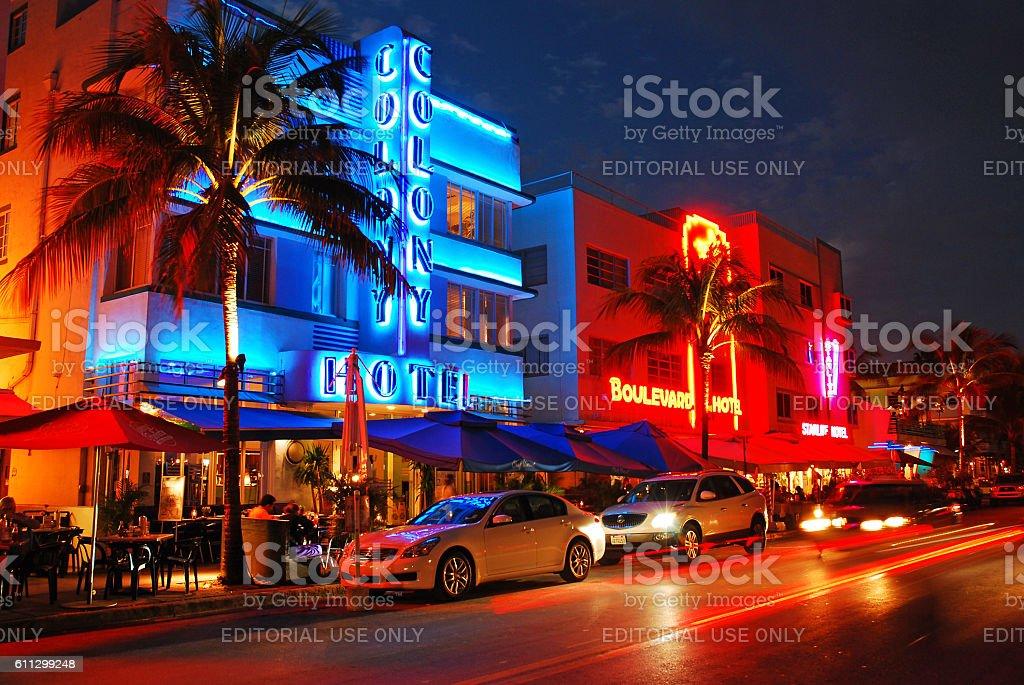 Neon Lights up the Night Along Ocean Boulevard, Miami Beach stock photo