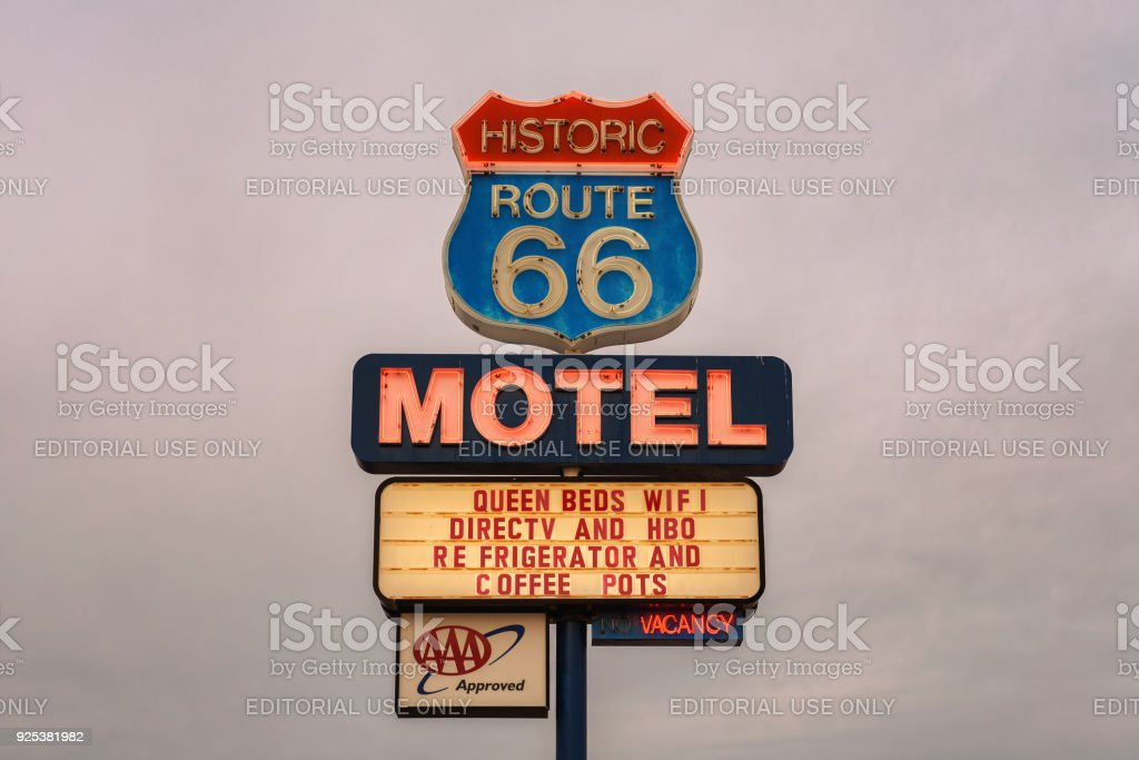 Neon motel sign on historic Route 66 stock photo