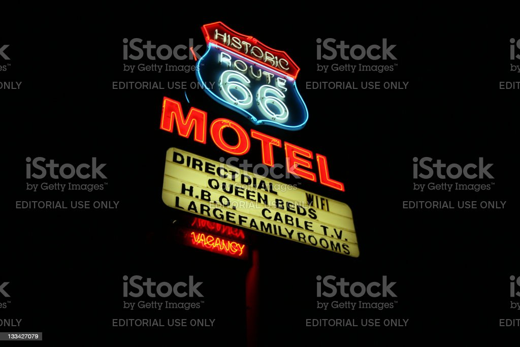 Neon motel sign on Route 66 royalty-free stock photo