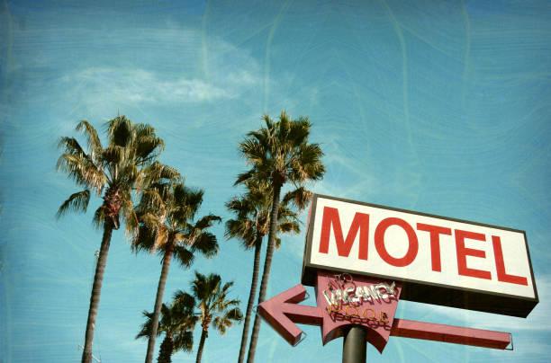 neon motel sign stock photo