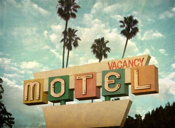 neonowy znak motelu - motel zdjęcia i obrazy z banku zdjęć