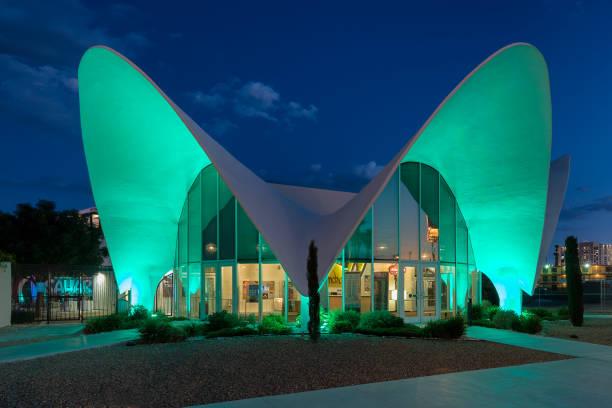 Neon Museum at night on Las Vegas Boulevard stock photo