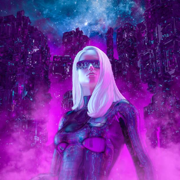Neon night heroine stock photo