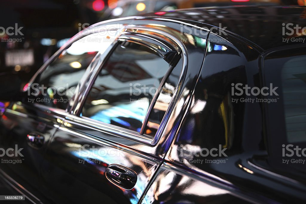 Neon Nightlife Reflected In Limo Window stock photo