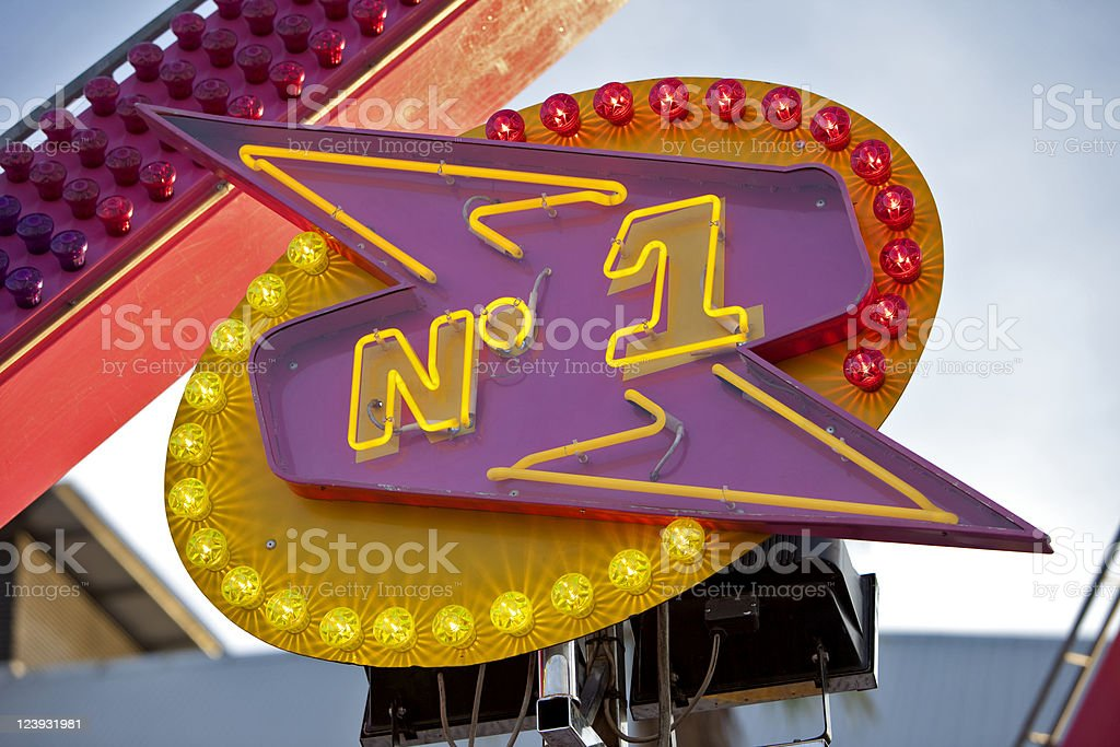 Neon number one sign royalty-free stock photo