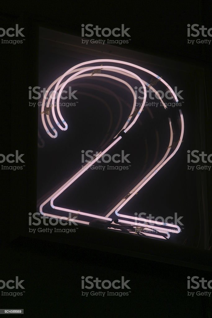 Neon Number Two royalty-free stock photo