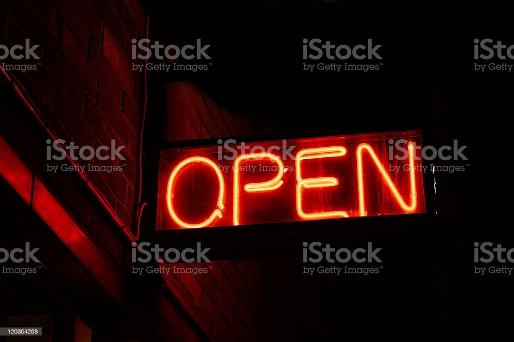 A neon open sign for a nightclub stock photo