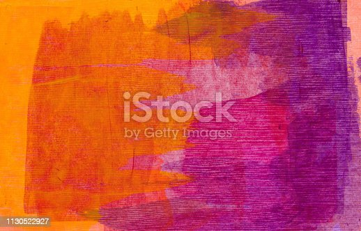 Hand painted background with brush strokes of color. The prominent colors are shades of neon orange and purple.