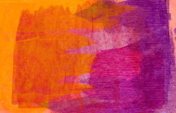 neon orange and purple background - paint texture stock pictures, royalty-free photos & images