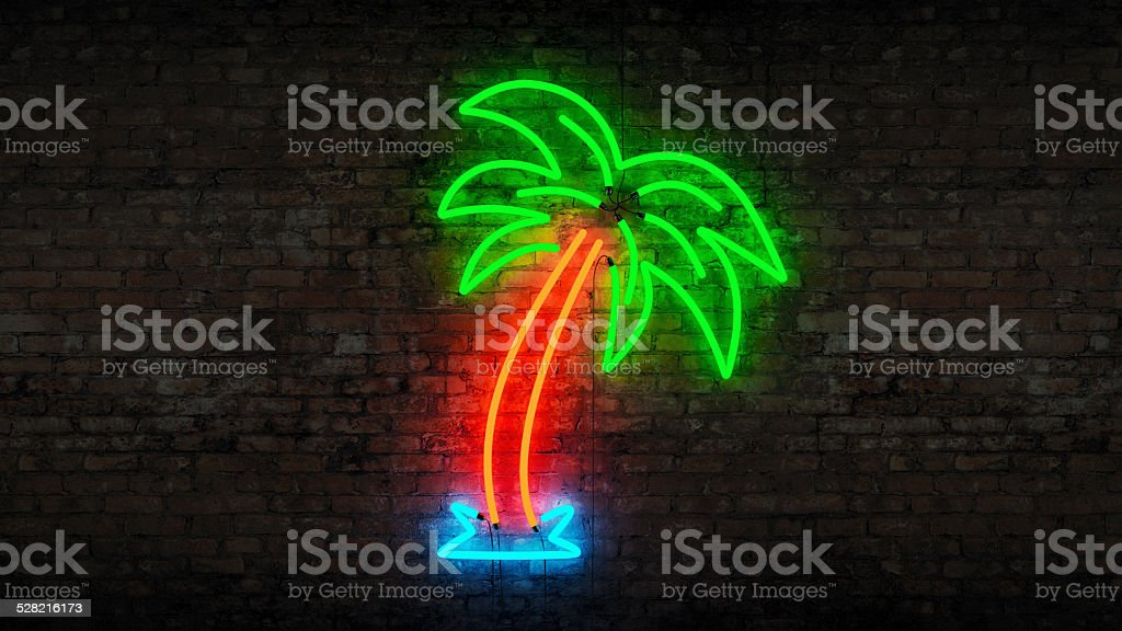 neon palm tree stock photo