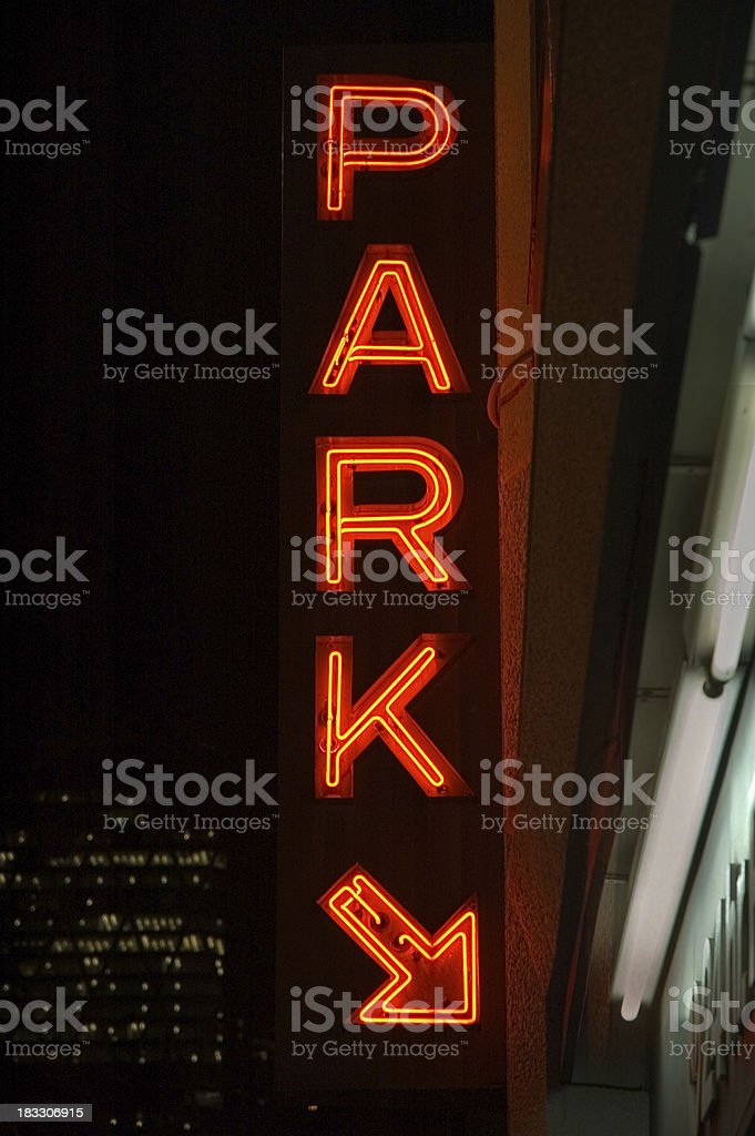 Neon Parking Sign royalty-free stock photo