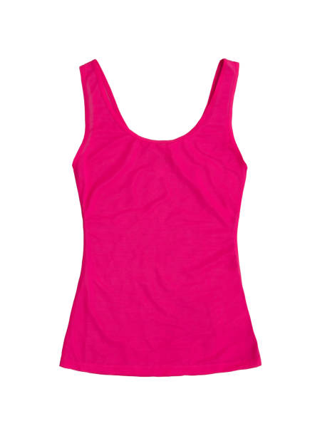neon pink sleeveless sports top isolated on white background stock photo