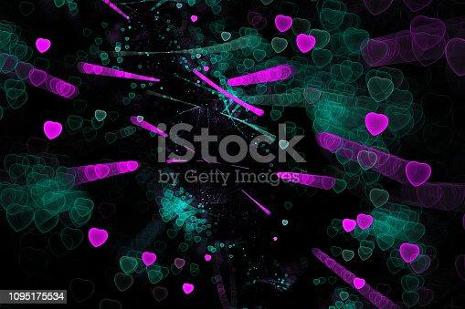 908708148 istock photo Neon Pink Teal Heart on Black Background Valentine's, Sweetest Love Abstract Pattern Purple Mint Blue Green Fine Art Fractal 1095175534