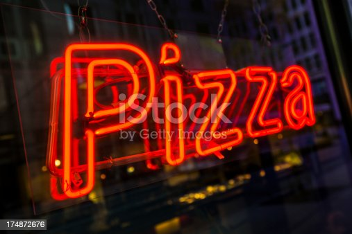 Pizza and deep dish dinner light up sign outside a Chicago pizzeria restaurant in Illinois USA