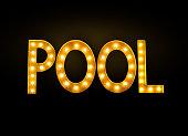 neon pool sign in billiard hall