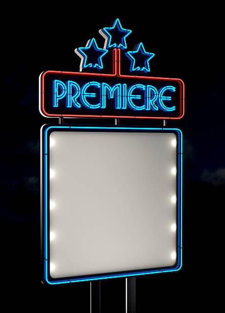 Neon Premiere Sign stock photo