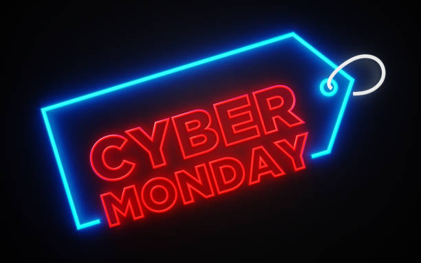 neon price tag with cyber monday text inside on black - cyber monday стоковые фото и изображения