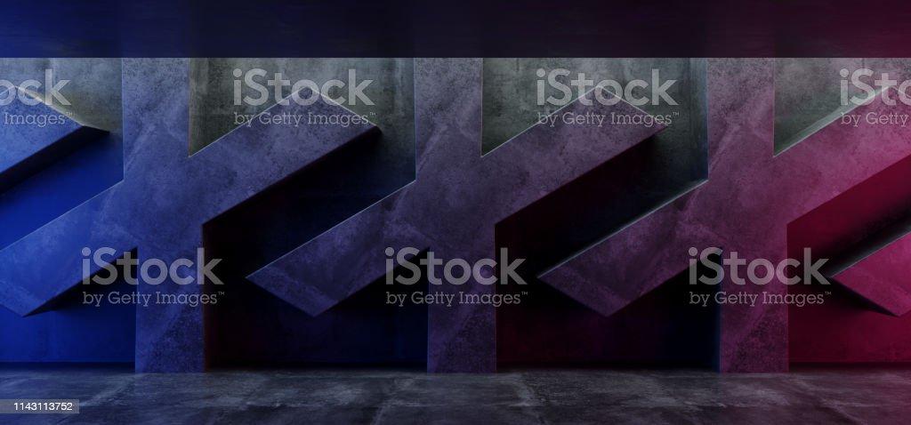 Neon Purple Blue Glow Grunge Concrete Sci Fi Futuristic Cross Shaped...