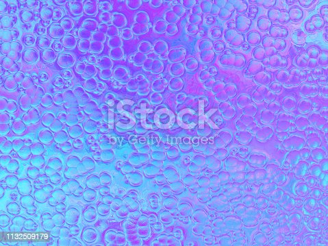 Neon Purple Blue Holographic Foil Bubble Background Circle Pattern Texture Retro Style Computer Graphic