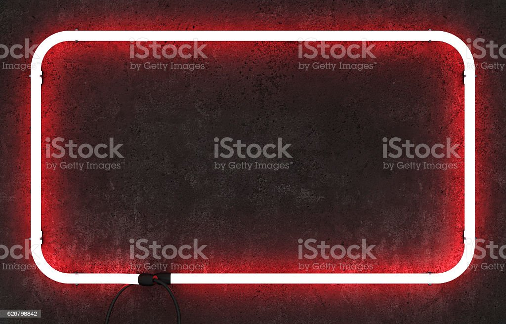 Neon rectangle frame on concrete background stock photo
