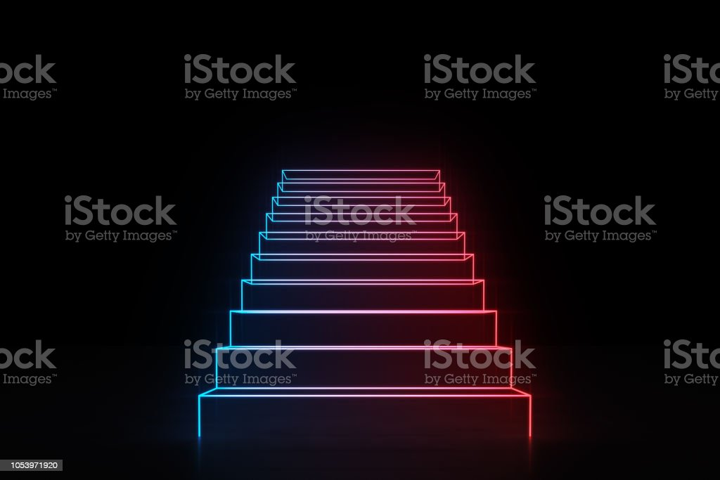 Neon red blue stairs going up glowing on black stock photo