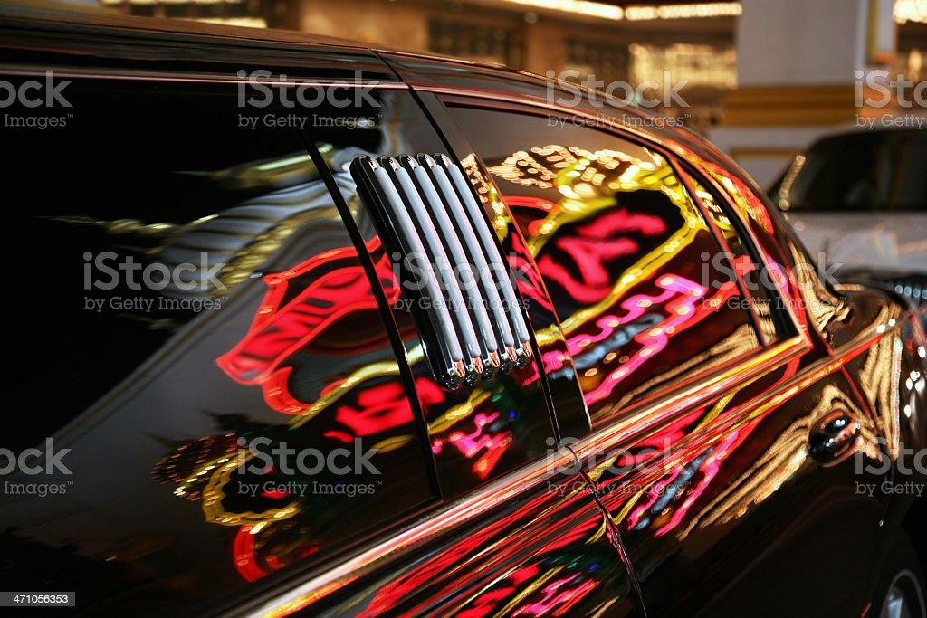 Neon Reflections On Limosine Window royalty-free stock photo