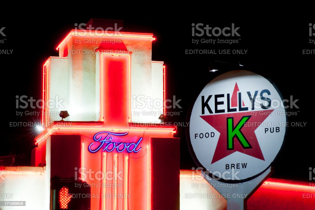 Neon Restaurant Sign on Route 66 royalty-free stock photo