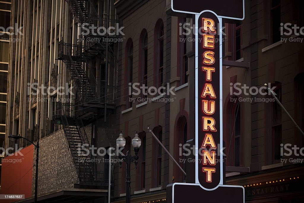 Neon restaurant sign royalty-free stock photo