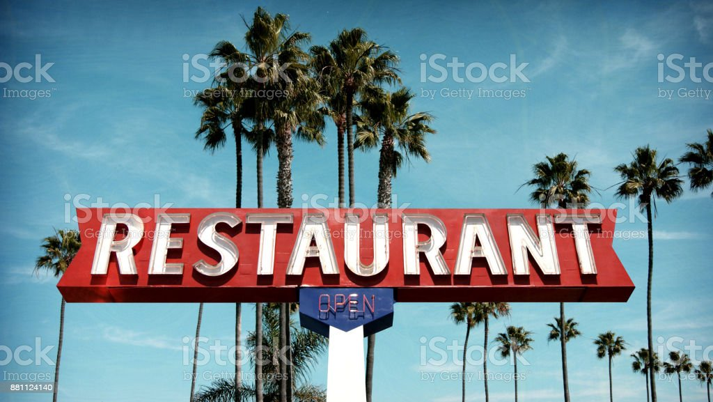 neon restaurant sign stock photo