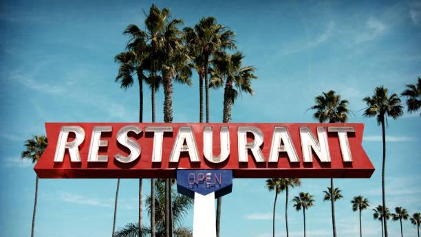 neon restaurant sign stock photo