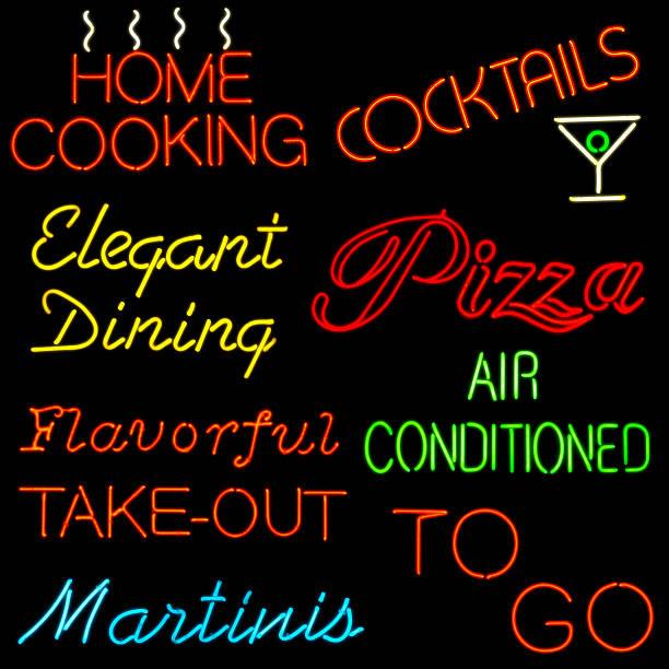 neon restaurant beschilderung - hausgemachte klimaanlage stock-fotos und bilder