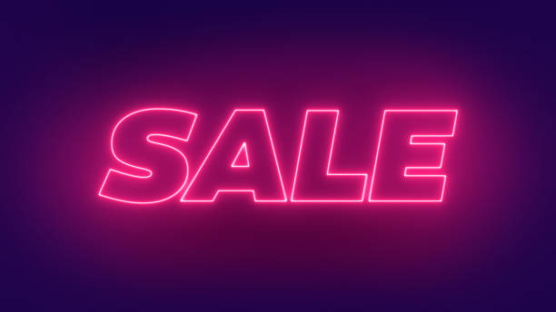 Neon Sale Glowing Text Sign. Sale Banner Design. 3D Render Glow Sale Illustration.Sale offer glowing text design. stock photo