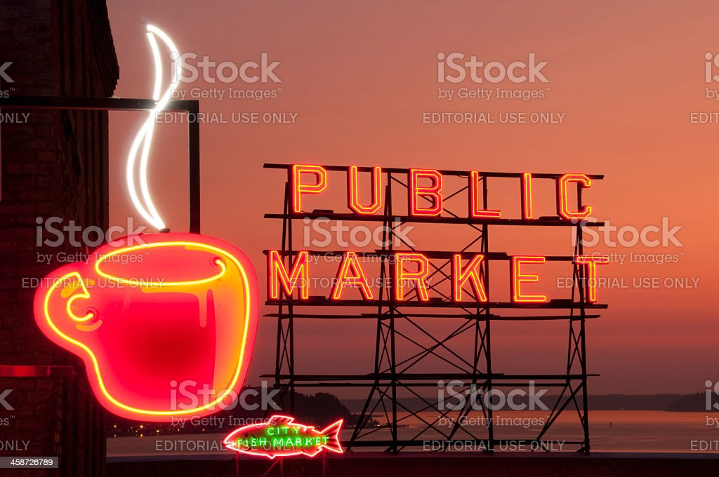 Neon Seattle's Best Coffee stock photo