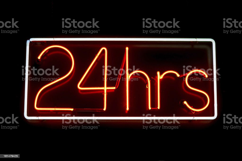 Neon Sign, 24 hours stock photo