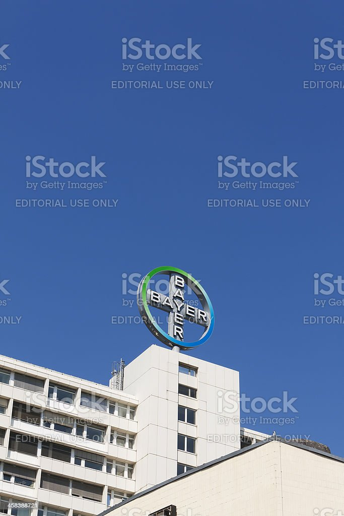 Neon Sign Bayer AG, Berlin stock photo